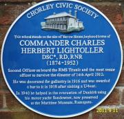 A blue plaque marking 2nd officer Lightoller's childhood home. One of many such memorials that exist for the Titanic crew.