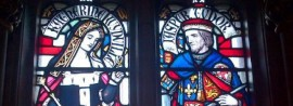 The only likeness of Jasper Tudor. A stained glass window picturing him with his wife, Catherine Woodville.