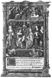 A page illustrating the marriage of Mary Tudor and King Louis of France.