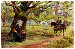 A non contemporary rendering of Elizabeth Woodville waiting for Edward under an oak tree.