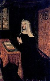 A depiction of Margaret kneeling in prayer before an open book of hours. Margaret was known to spend several hours daily in prayer, while the furnishing of the rooms reveal her wealth.