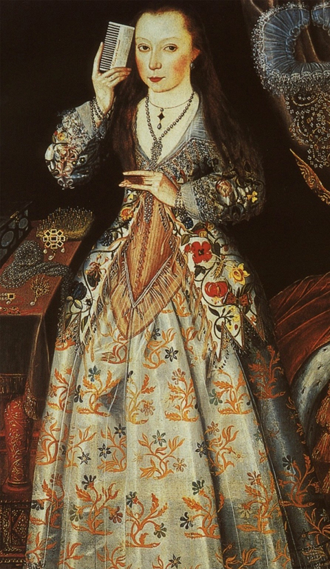 Elizabeth Vernon taking the Queen's rules on her ladies dresses very seriously